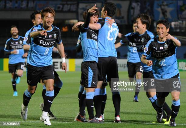 Players of Kawasaki Frontale celebrate their first goal during the AFC Champions League Group F match between Kawasaki Frontale and Ulsan Hyundai at...