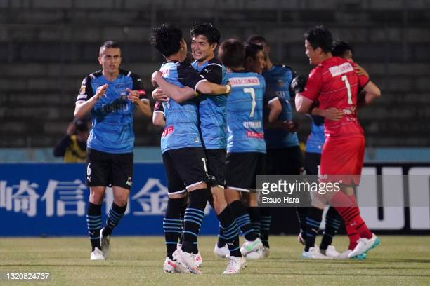 Players of Kawasaki Frontale celebrate their victory at the end of the J.League Meiji Yasuda J1 match between Kawasaki Frontale and Kashima Antlers...