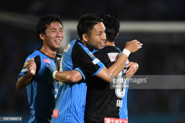 Players of Kawasaki Frontale celebrate thier side's first goal during the JLeague J1 match between Kawasaki Frontale and Nagoya Grampus at Todoroki...