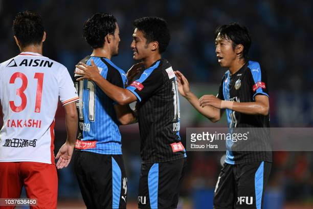 Players of Kawasaki Frontale celebrate thier side's first goal during the JLeague J1 match between Kawasaki Frontale and Nagoya Grampus at Todoroki...