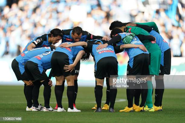 Players of Kawasaki Frontale huddle during the JLeague MEIJI YASUDA J1 match between Kawasaki Frontale and Sagan Tosu at Todoroki Stadium on February...