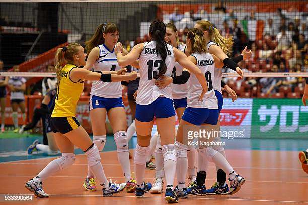 PLayers of Kazakhstan celebrate a point during the Women's World Olympic Qualification game between Italy and Kazakhstan at Tokyo Metropolitan...