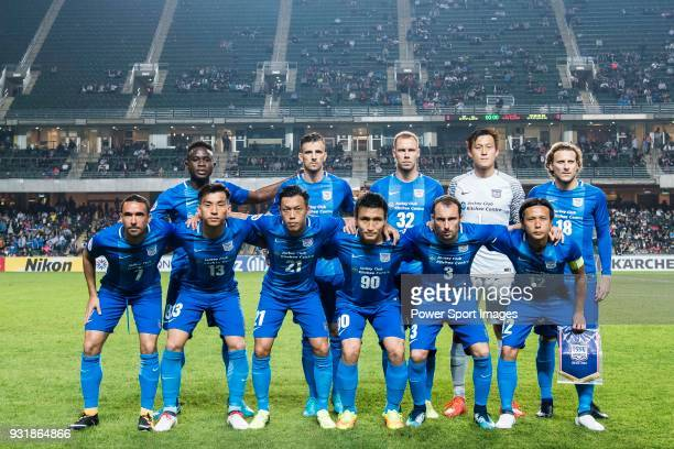 Players of Kitchee line up and pose for a photo during the AFC Champions League Group E match between Kitchee and Kashiwa Reysol at Hong Kong Stadium...