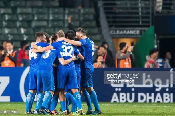 Players of Kitchee SC celebrate during the AFC Champions League Group E match between Kitchee and Kashiwa Reysol at Hong Kong Stadium on March 14,...