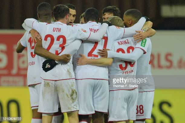 Players of Koeln celebrate their teams second goal during the Bundesliga match between SC Paderborn 07 and 1 FC Koeln at Benteler Arena on March 06...