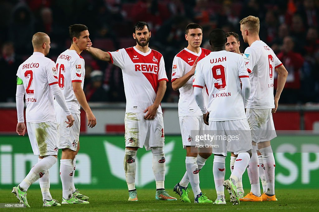 Players of Koeln react during the Bundesliga match between 1. FC Koeln and Hertha BSC at RheinEnergieStadion on November 22, 2014 in Cologne, Germany.