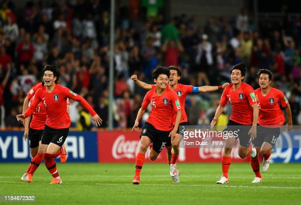 Players of Korea Republic celebrate their win during the 2019 FIFA U20 World Cup Quarter Final match between Korea Republic and Senegal at...