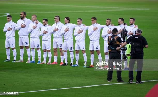 Players of Kosovo line up for the national anthem prior to the FIFA World Cup 2022 Qatar qualifying match between Spain and Kosovo at Estadio de La...
