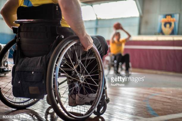 Players of Kyiv BASKI wheelchair basketball team have their training at the sports center Voskhod in Kyiv Ukraine The team was created 3 months ago...