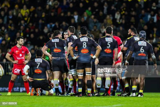 Players of La Rochelle during the Top 14 match between La Rochelle and Lyon at Stade Marcel Deflandre on March 17 2018 in La Rochelle France