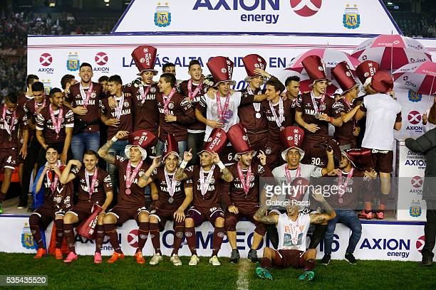 Players of Lanus celebrate the championship after a final match between San Lorenzo and Lanus as part of Torneo Transicion 2016 at Monumental Stadium...