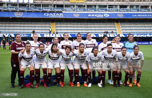 Players of Lanus pose for a team photo prior to a match between Boca Juniors and Lanus as part of Zona Campeonato of the Women's First Division at...