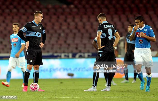 Players of Lazio show their dejection during the Serie A match between SSC Napoli and SS Lazio at Stadio San Paolo on September 20 2015 in Naples...