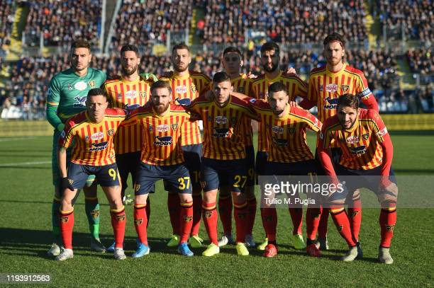 Players of Lecce pose for a team shot during the Serie A match between Brescia Calcio and US Lecce at Stadio Mario Rigamonti on December 14, 2019 in...