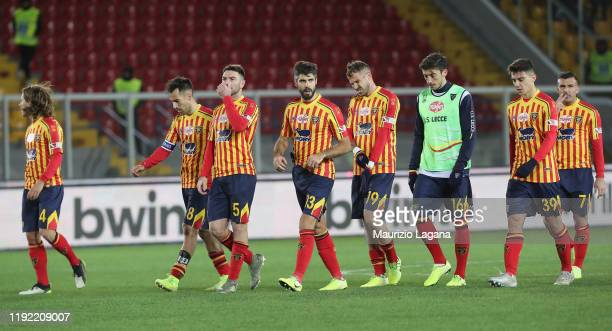 Players of Lecce show their dejection after the Serie A match between US Lecce and Udinese Calcio at Stadio Via del Mare on January 6 2020 in Lecce...