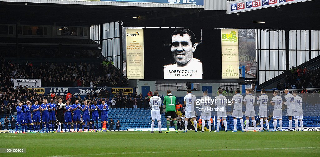 Players of Leeds United and Leicester City line up for a minutes applaus in memory of Bobby Collins during the Sky Bet Championship match between Leeds United and Leicester City at Elland Road on January 18, 2014 in Leeds, England,