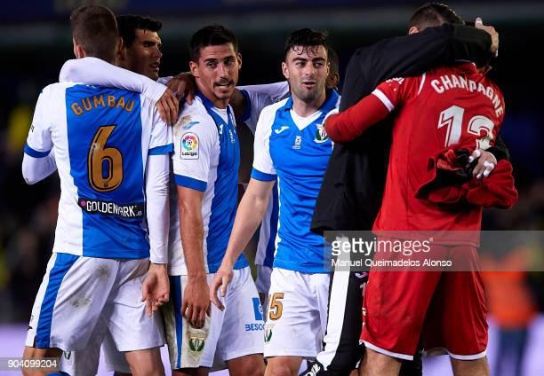 Players of Leganes celebrates after the Copa del Rey Round of 16 second Leg match between Villarreal CF and Leganes at Estadio de La Ceramica on...