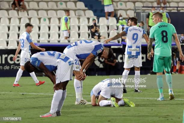 Players of Leganes react after the Liga match between CD Leganes and Real Madrid CF at Estadio Municipal de Butarque on July 19 2020 in Leganes Spain