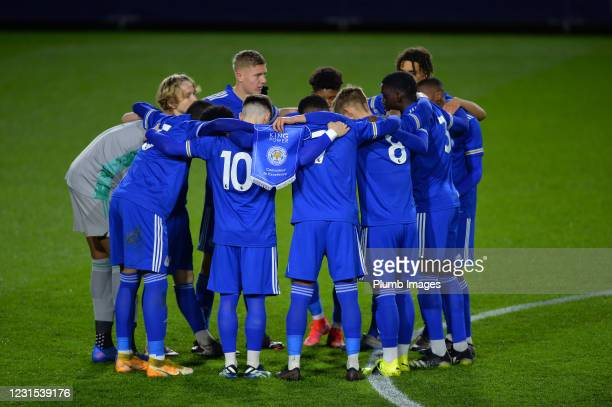 Players of Leicester City before Leicester City v Sheffield Wednesday: FA Youth Cup at Leicester City Training Ground on March 5, 2021 in Seagrave,...