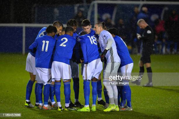 Players of Leicester City before the Leicester City U23 v Villarreal B PL International Cup at Holmes Park on December 18th 2019 in Leicester United...