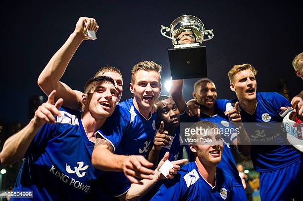 Players of Leicester City celebrate with trophy after winning Cup Final match against Newcastle United on day three of the Hong Kong International...