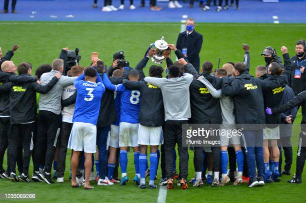 Players of Leicester City with the FA Cup at the end of the Premier League match between Leicester City and Tottenham Hotspur at The King Power...