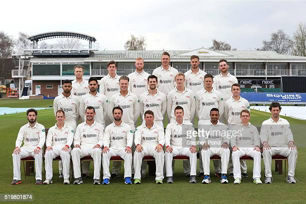 Players of Leicestershire pose for a team photo during the Leicestershire County Cricket Club media day at Grace Road on April 8 2016 in Leicester...