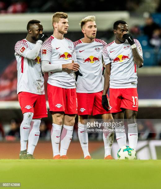 Players of Leipzig look on during the Bundesliga match between RB Leipzig and FC Bayern Muenchen at Red Bull Arena on March 18 2018 in Leipzig Germany
