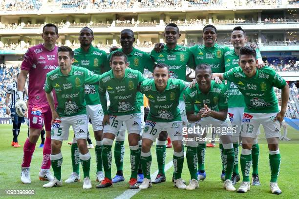 Players of León pose for the team photo prior the 2nd round match between Monterrey and Leon as part of the Torneo Clausura 2019 Liga MX at BBVA...