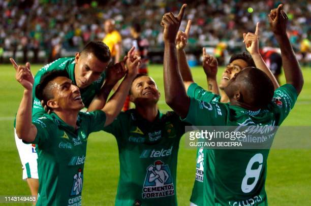 Players of Leon celebrate their goal during the Mexican Clausura 2019 tournament second leg quarterfinal football match against Tijuana at the Nou...