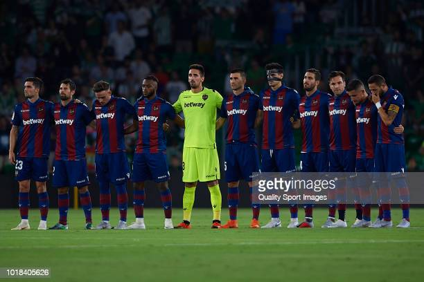 Players of Levante UD prior to the La Liga match between Real Betis Balompie and Levante UD at Estadio Benito Villamarin on August 17 2018 in Seville...
