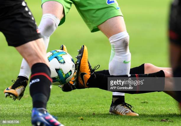 Players of Leverkusen and of Wolfsburg vie for the ball during the German first division Bundesliga football match Bayer Leverkusen vs VfL Wolfsburg...