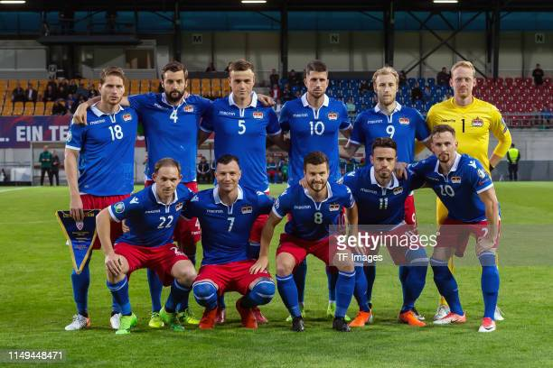 Players of Lichtenstein are seen prior to the UEFA Euro 2020 Qualifier match between Liechtenstein and Finland at Rheinpark Stadion on June 11, 2019...