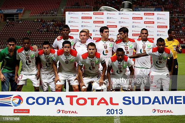 Players of Liga de Loja pose before a match between Deportivo Lara and Liga de Loja as part of the Copa Total Sudamericana at Cabudare Metropolitan...