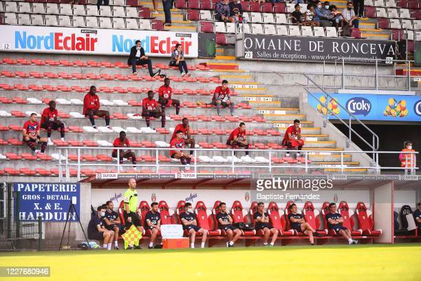 Players of Lille on the stand during the preseason soccer friendly match between Lille and Mouscron on July 18 2020 in Mouscron Belgium