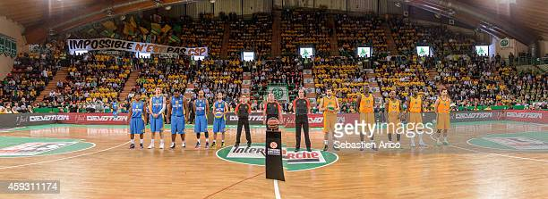 Players of Limoges CSP and Maccabi Electra Tel Aviv during the balls interchange ceremony before the 20142015 Turkish Airlines Euroleague Basketball...