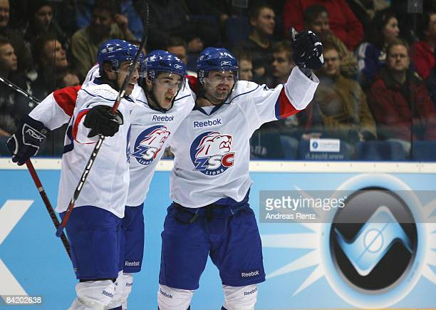Players of Lions Zurich celebrate the first goal during the IIHF Champions Hockey League 2nd semi-final match between Espoo Blues and ZSC Lions...