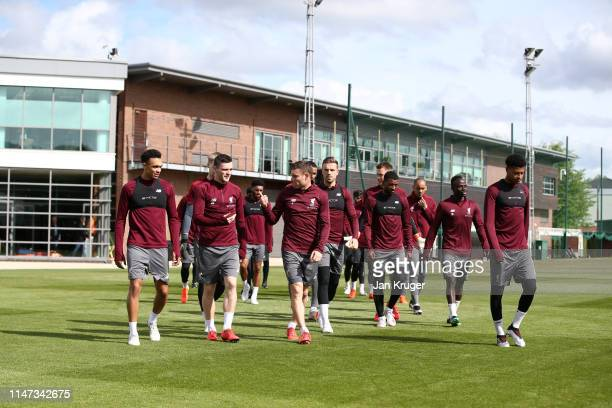 Players of Liverpool arrive for a training session ahead of their UEFA Champions League second leg semi finals match against Barcelona at Melwood on...