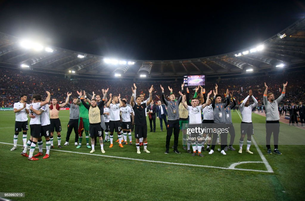 Players of Liverpool celebrate the qualification for the final following the UEFA Champions League Semi Final second leg match between AS Roma and Liverpool FC at Stadio Olimpico on May 2, 2018 in Rome, Italy.