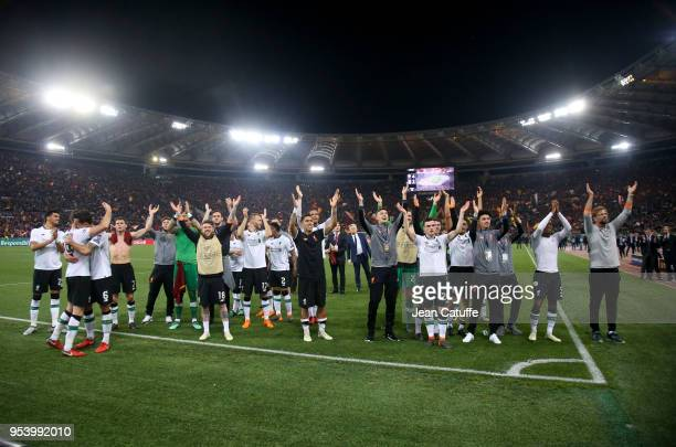 Players of Liverpool celebrate the qualification for the final following the UEFA Champions League Semi Final second leg match between AS Roma and...