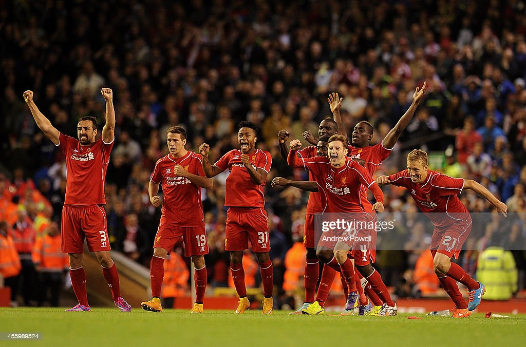 Players of Liverpool celebrate their win during the Capital One Cup Third Round match between Liverpool and Middlesbrough at Anfield on September 23, 2014 in Liverpool, England.