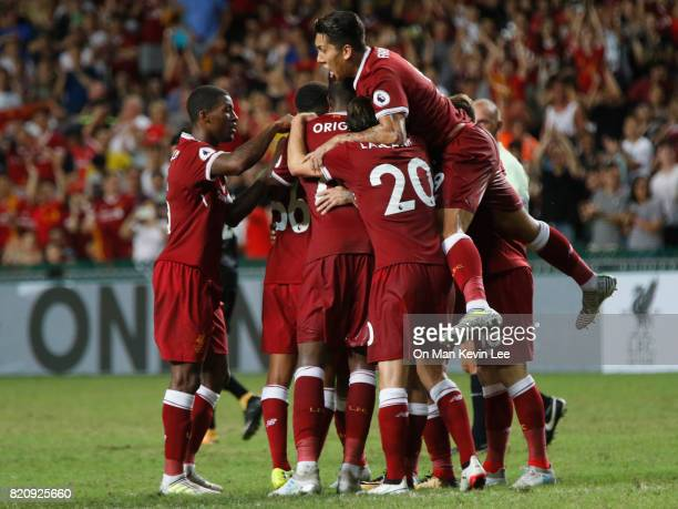 Players of Liverpool celebrates after Philippe Coutinho score a goal during Premier League Asia Trophy final match between Leicester City FC and...