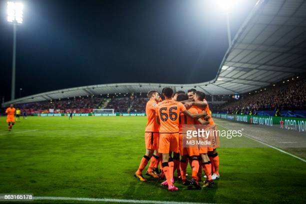 Players of Liverpool FC celebrate after scoring first goal during UEFA Champions League 2017/18 group E match between NK Maribor and Liverpool FC at...