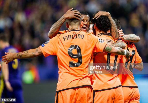 Players of Liverpool FC celebrate after scoring third goal during UEFA Champions League 2017/18 group E match between NK Maribor and Liverpool FC at...