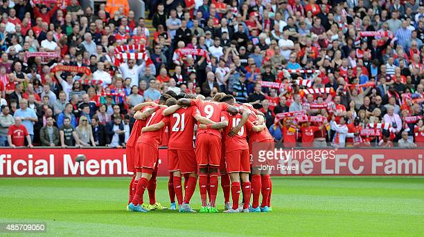 Players of Liverpool huddle before the Barclays Premier League match between Liverpool and West Ham United on August 29 2015 in Liverpool United...