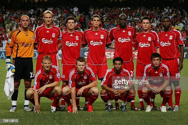 Players of Liverpool pose before the preseason Barclays Asia Trophy final match between Liverpool FC and Portsmouth FC at Hong Kong Stadium on July...