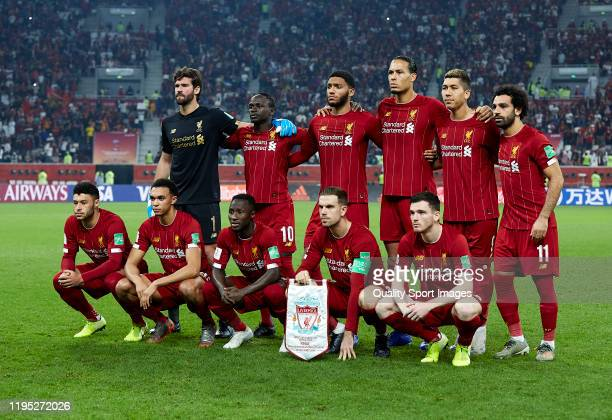 Players of Liverpool pose for a team photo ahead of the FIFA Club World Cup Qatar 2019 Final match between Liverpool FC and CR Flamengo at Khalifa...
