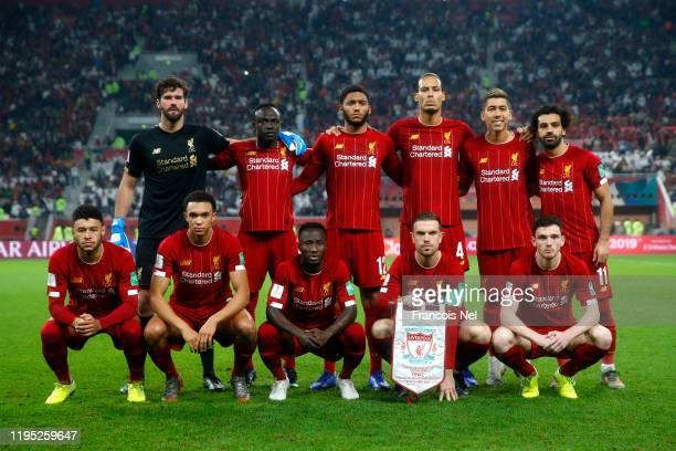 Players of Liverpool pose for a team photograph prior to the FIFA Club World Cup Qatar 2019 Final between Liverpool FC and CR Flamengo at Education...