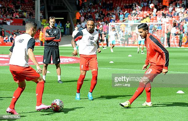 Players of Liverpool taking part in a passing drill during the warm up before Barclays Premier League match between Liverpool and West Ham United on...
