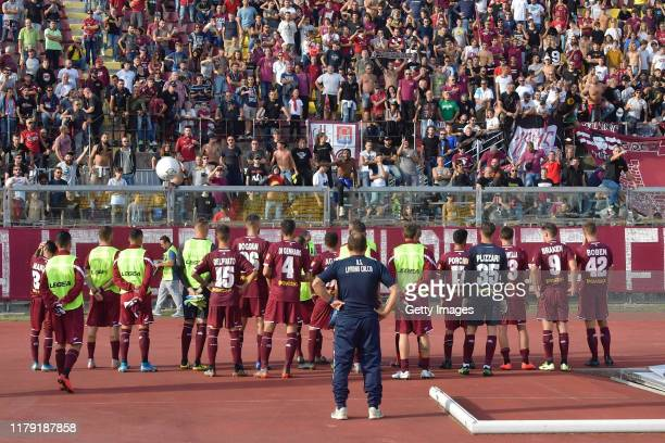 Players of Livorno look on in front of supporters during the Serie B match between AS Livorno and Chievo Verona at Stadio Armando Picchi on October...